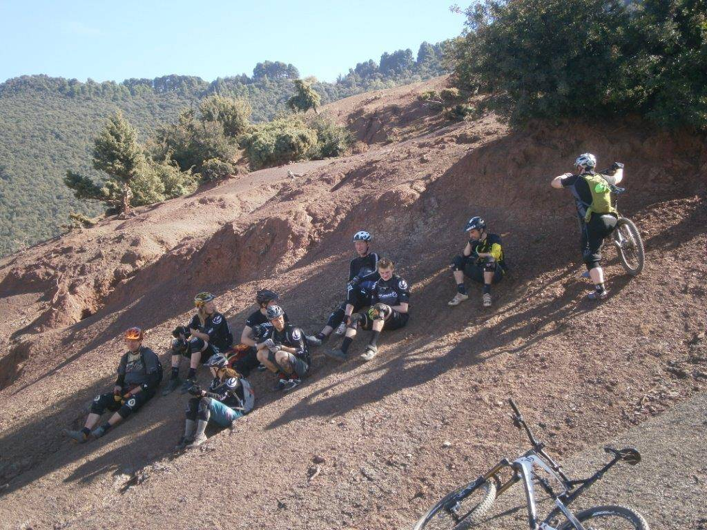 photo of mountain biking holiday group taking a rest