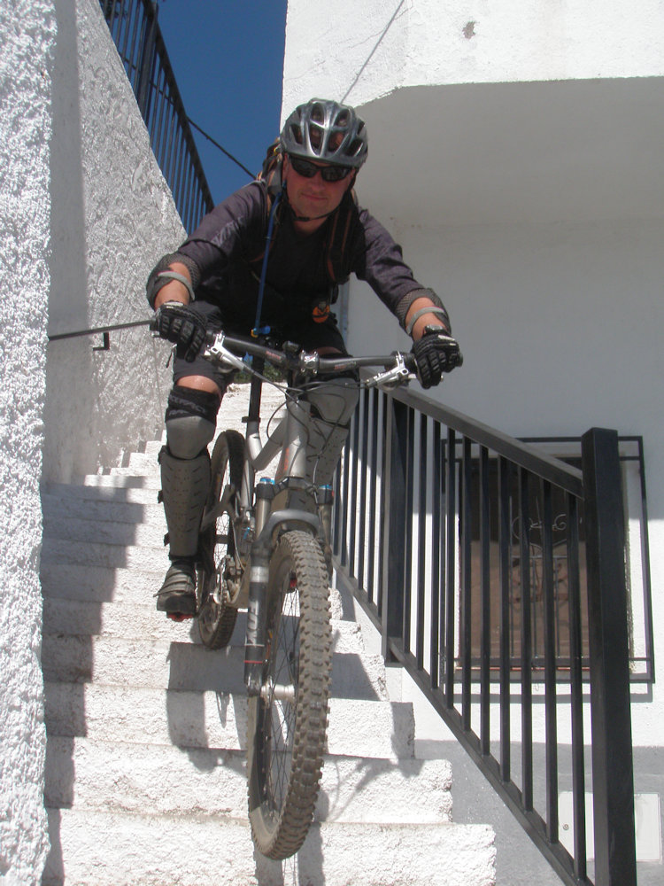photo of rider on some steps